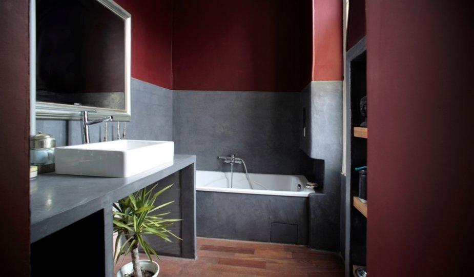 la salle de bains en bton cire